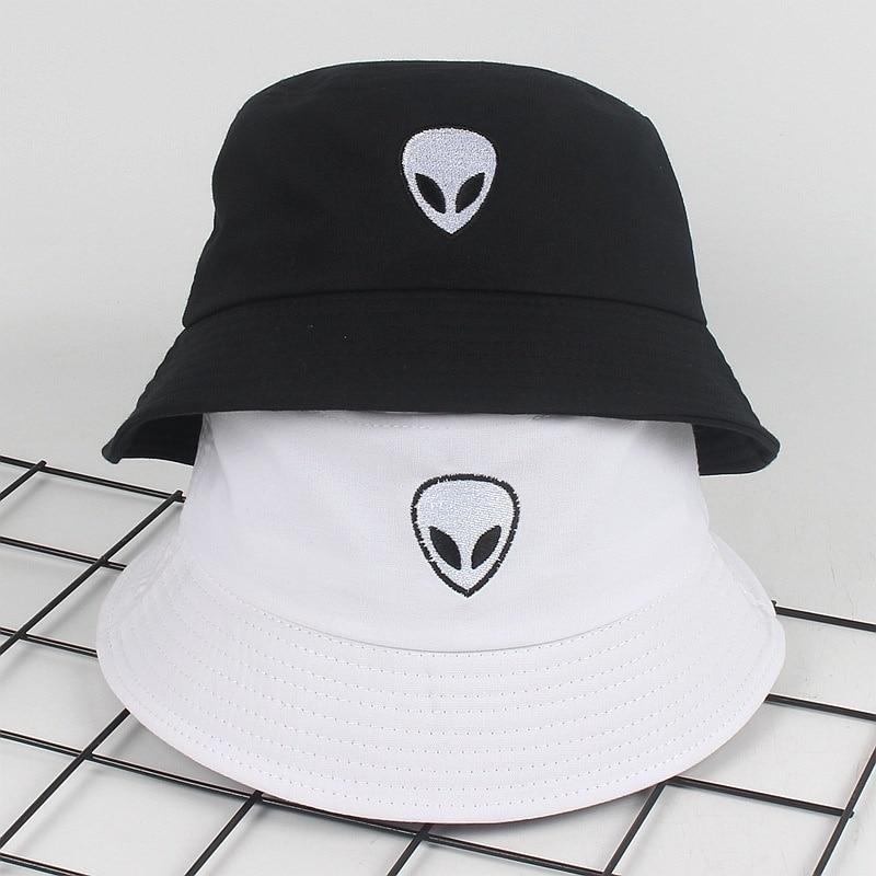 Unisex Black White Solid Embroidered Alien Foldable Bucket Hat Beach Sun Party Street Headwear Panama Hat Harajuku Fisherman Cap