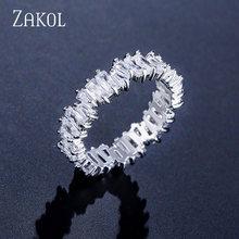 ZAKOL Mode Luxus Multicolor Charme AAA Baguette Zirkonia Hochzeit Ringe für Frauen T Form Stein Partei Schmuck FSRP252