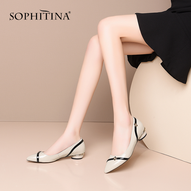 SOPHITINA/Офисные туфли-лодочки; Модные женские повседневные туфли-лодочки высокого качества на низком каблуке; Классические повседневные женс...