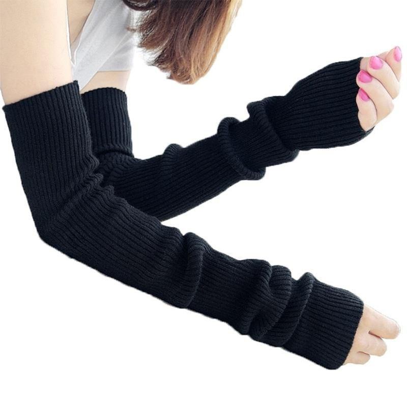 Neon Bright Solid Color Fingerless Gloves Women Winter Ribbed Knit Crochet Dance Over Elbow Long Arm Warmers Mittens