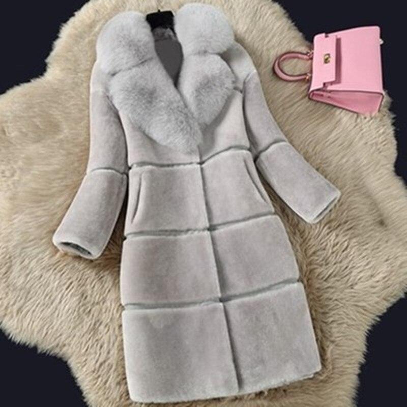 Faux Fur Coat Women Winter Female Sheepskin Coats Pure Color Faux Fox Fur Collars Snap Fastener Furs Plus Size D190805