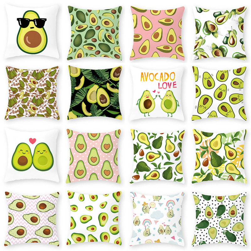 Funny Cute Avocado Fruit Print Polyester Cushion Cover 45x45cm Decorative Pillow Covers Case For Living Room Car Office