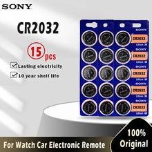 Литиевые кнопочные батарейки для SONY CR2032, 3 в, 15 шт., CR 2032 DL2032 ECR2032 BR2032, батарейка для часов, электронного пульта дистанционного управления
