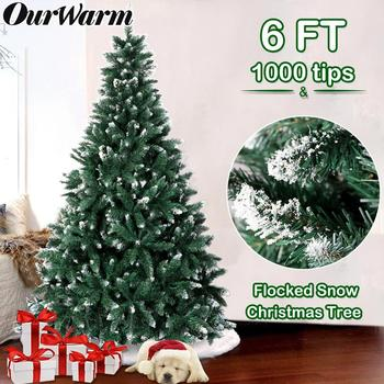 OurWarm 6ft Flocked Christmas Tree with Snow Fake Fire Prevention Artificial Christmas Tree with Strong Metal Stand High Quality