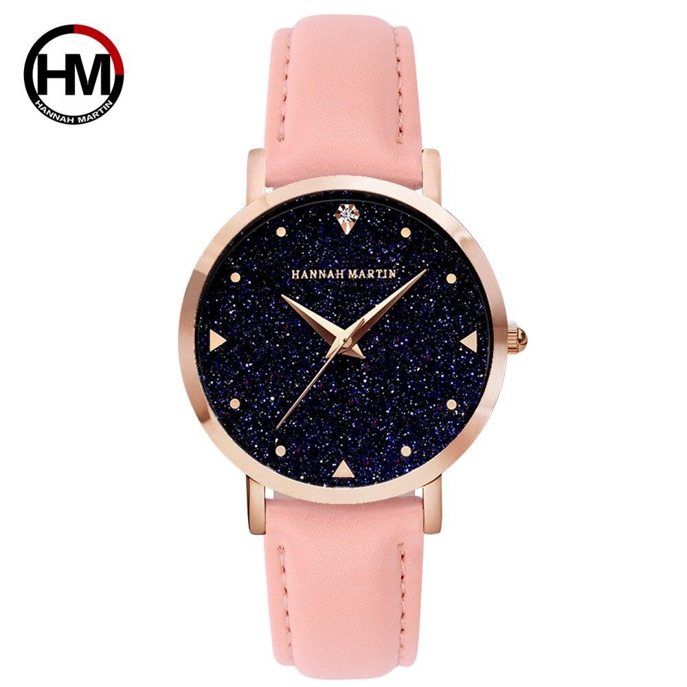 HM Woman Watch Top Luxury Brand Rhinestones Japanese Waterproof Leather Buckle Belt Movement Ladies Quartz Wristwatch HM19