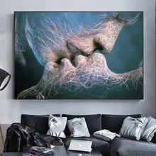 Abstract Lovers Kiss Modern Art Decorative Painting On Canvas Wall Art Poster And Prints Nordic Picture For Living Room Cuadros modern inspirational nordic flowers plants combination canvas painting zebra poster and prints living room decorative painting