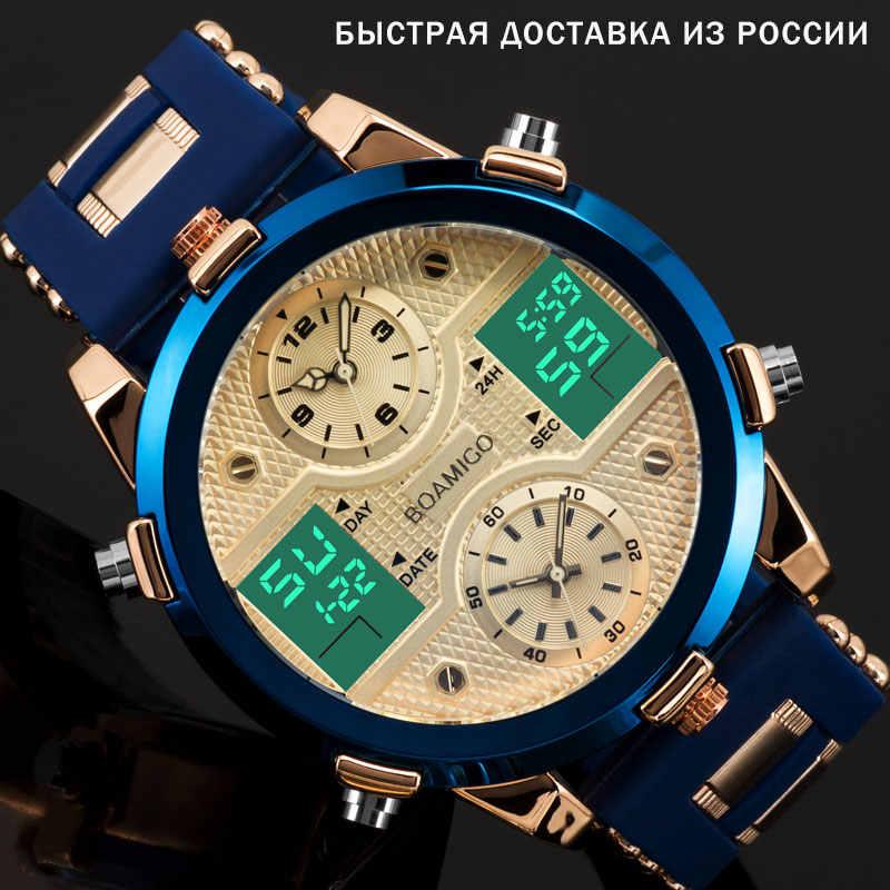 BOAMIGO Herren Uhren Top Luxus Marke Männer Sport Uhren herren Quarz LED Digital 3 Clock mann Männlich Armbanduhr relogio masculino
