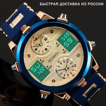 BOAMIGO męskie zegarki Top luksusowa marka mężczyźni zegarki sportowe męska kwarcowy LED cyfrowy 3 zegar mężczyzna mężczyzna Wrist Watch relogio masculino tanie i dobre opinie 23cm Moda casual QUARTZ Podwójny Wyświetlacz 3Bar Klamra STAINLESS STEEL 13mm Szkło powlekane Kwarcowe Zegarki Na Rękę