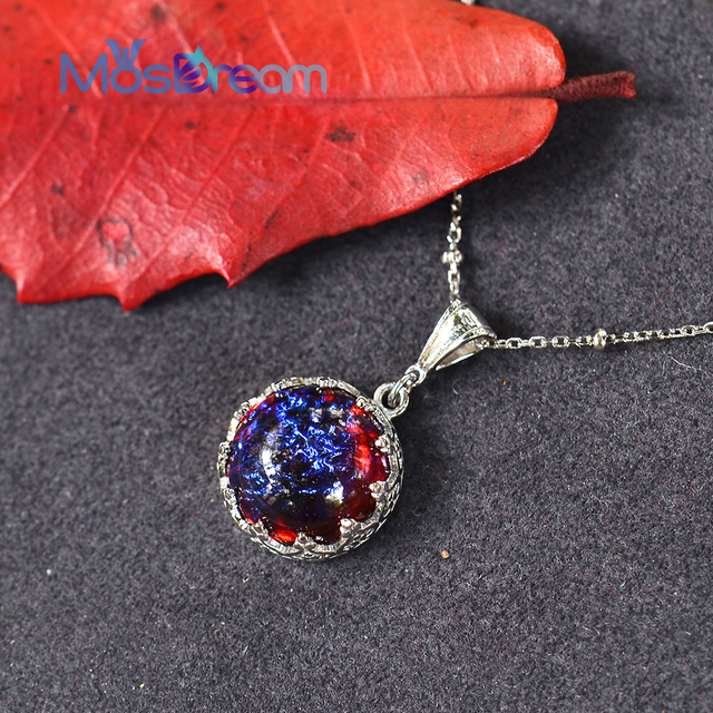 MosDream Dragons Breath Pendant Necklace Fire Opal Round Cabochon 13mm Vintage Elegant Gift for Women Blue Light Necklace