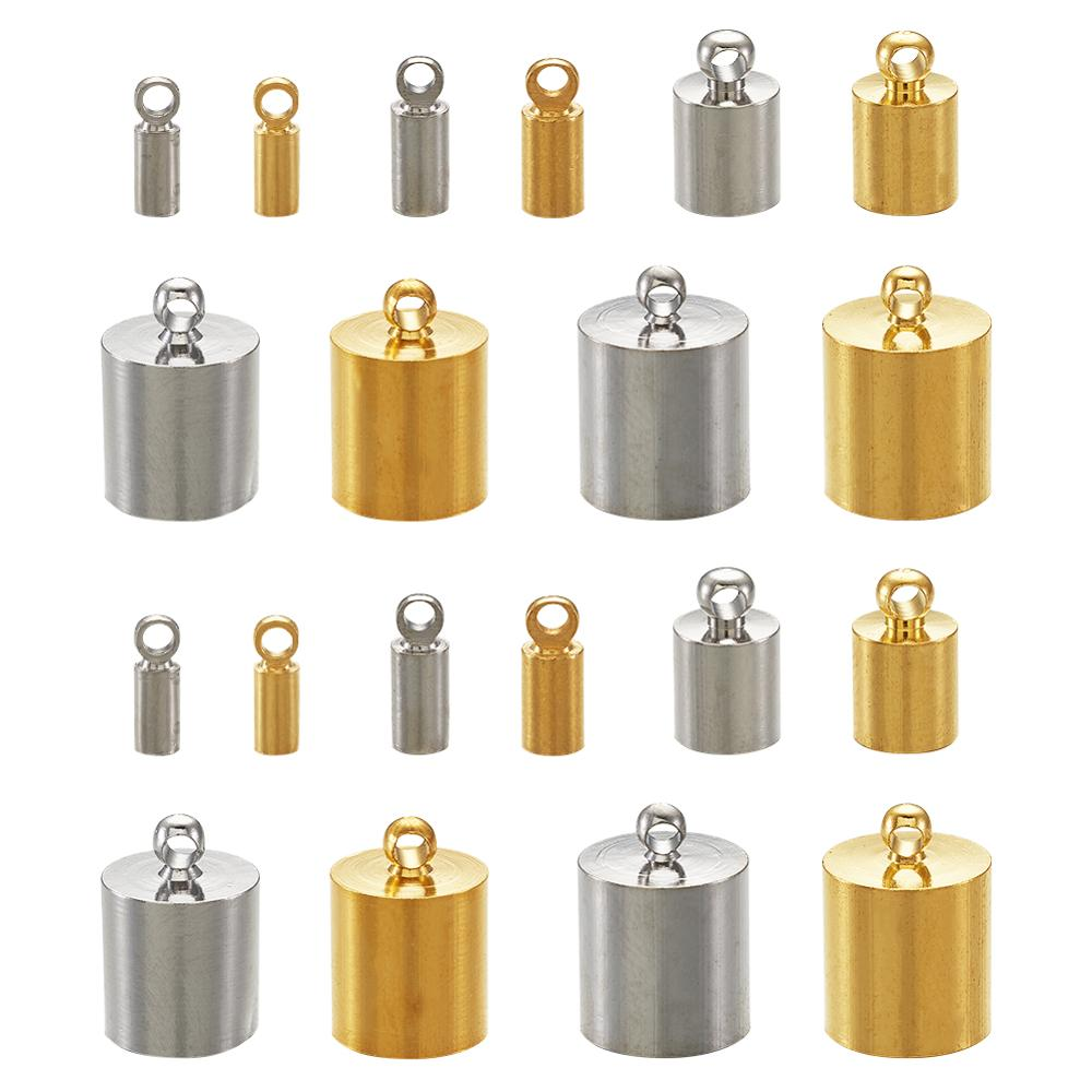 Brass Cord End Tassel Cap Cord Link Buckle For Kumihimo Barrel And Jewelry Making Mixed Color, 13.5x7x3cm 170pcs/box