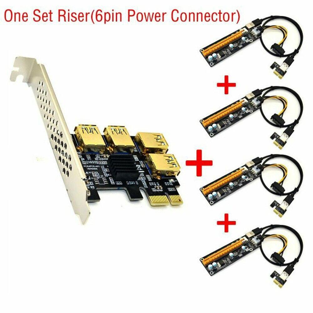 Дропшиппинг PCIE 1 до 4 PCI Express USB 3,0 Riser Card 1x к 16x PCIe Порты и разъёмы адаптер мультипликатора карты для BTC Майнер биткоинов добычи полезных ископае...