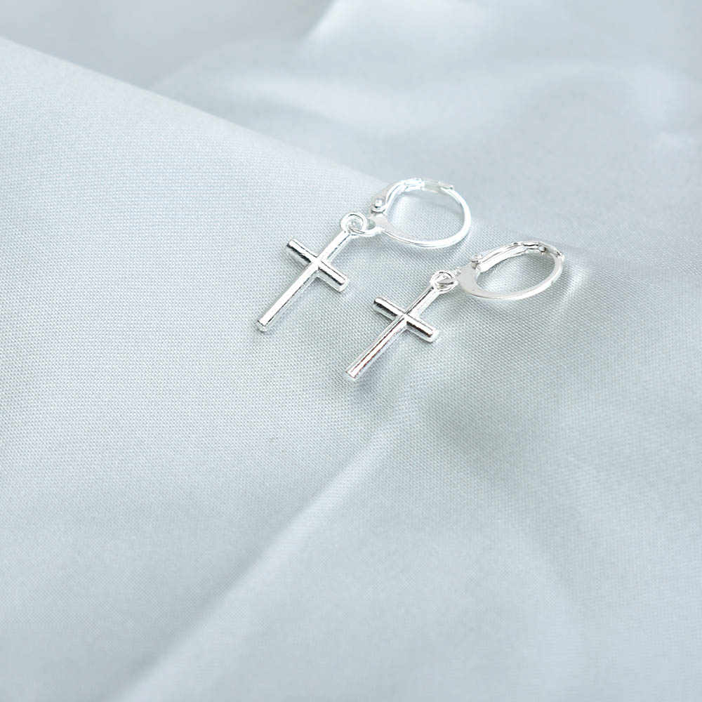 الفضة اللون الصليب القمر استرخى أقراط للنساء مجوهرات الأزياء الجديدة المعادن هندسية القرط Pendientes موهير مودا