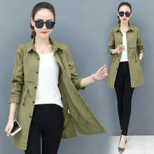 Spring autumn trench coat for Women #8217 s long windbreaker clothes Korean Slim tops thin wild coat women long coat women trench coat cheap MONCAYO Full Broadcloth Casual Polyester Button Pockets Solid Ages 18-35 Years Old 0258 Turn-down Collar Single Breasted
