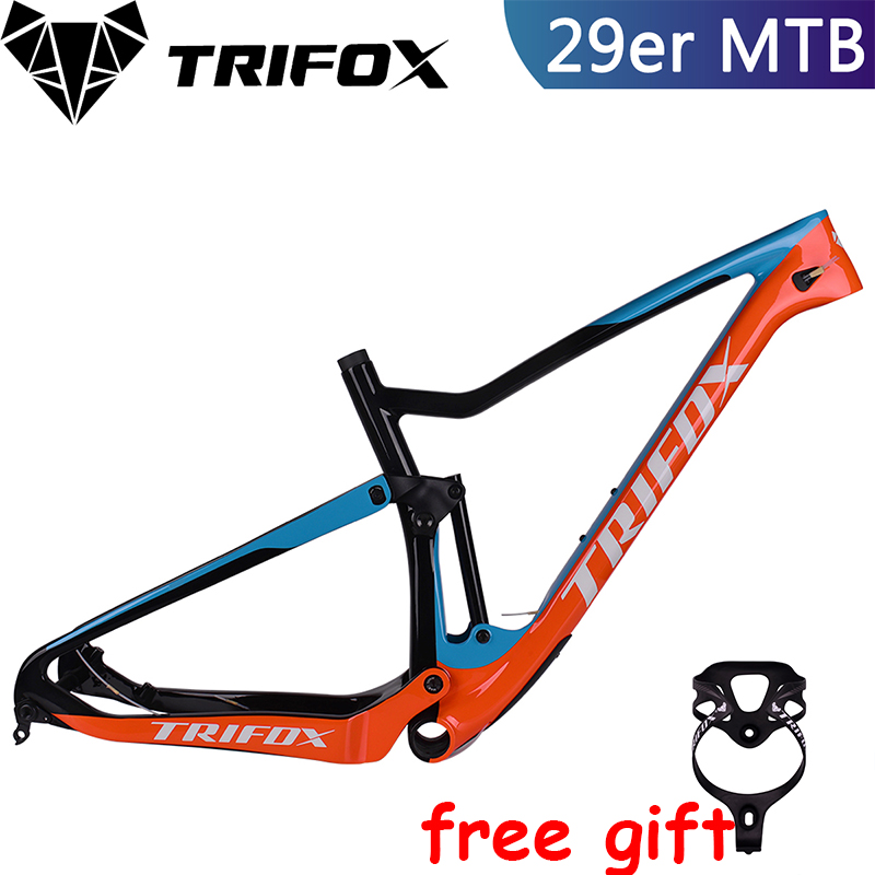 TRIFOX Full Suspension MTB frame 29er carbon mountain bike frame cuadro carbono mtb T800 quadro Boost 148*12 bicycle frame