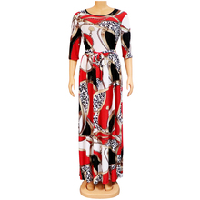 Summer Dress Half-Sleeve African Women Casual Leopard A-Line Sashes O-Neck Ethnic-Style