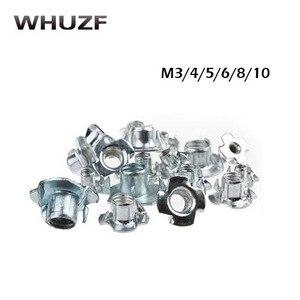 T-nut 20pcs M3 M4 M5 M6 M8 M10 M12 Zinc Plated Four Claws Nut Speaker Nut T-nut Blind Pronged Tee Nut Furniture Hardware