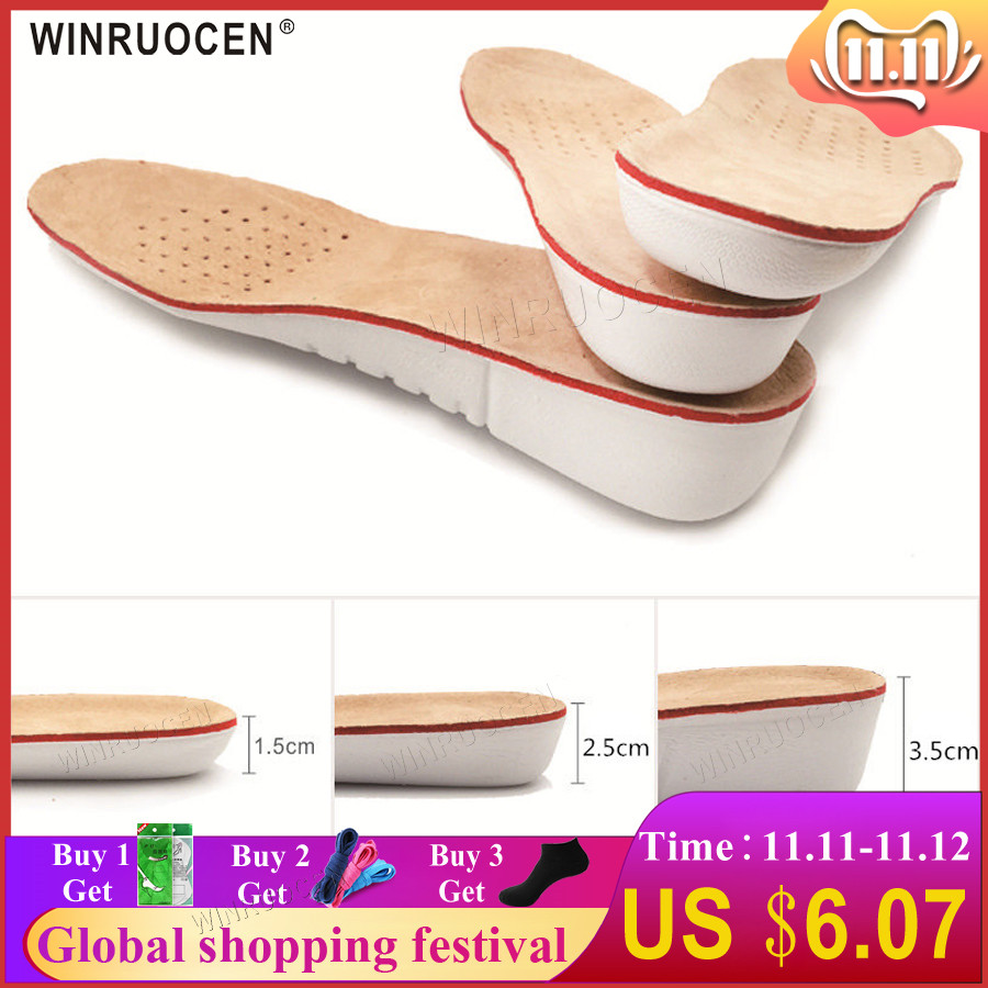 WINRUOCEN Height Increase Insole EVA Pigskin Insoles Gel Insoles Flat Foot Silicone Soles Gel Orthopedic Shoe Pad Lift Increase