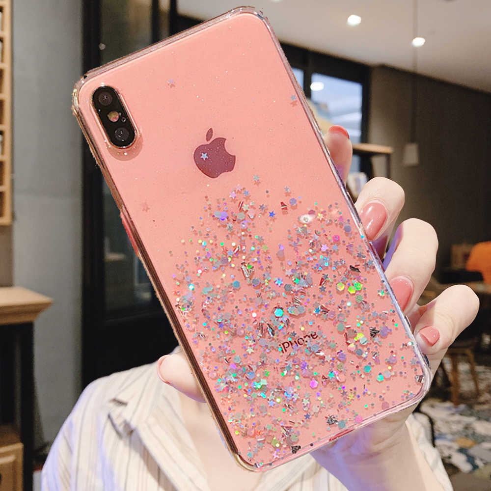 Voor Iphone Xr X Xs Max 6 6S 7 8 Plus 11 Pro Max Se 2nd Bling Glitter Epoxy star Sparkle Pailletten Soft Clear Gel Tpu Case Cover