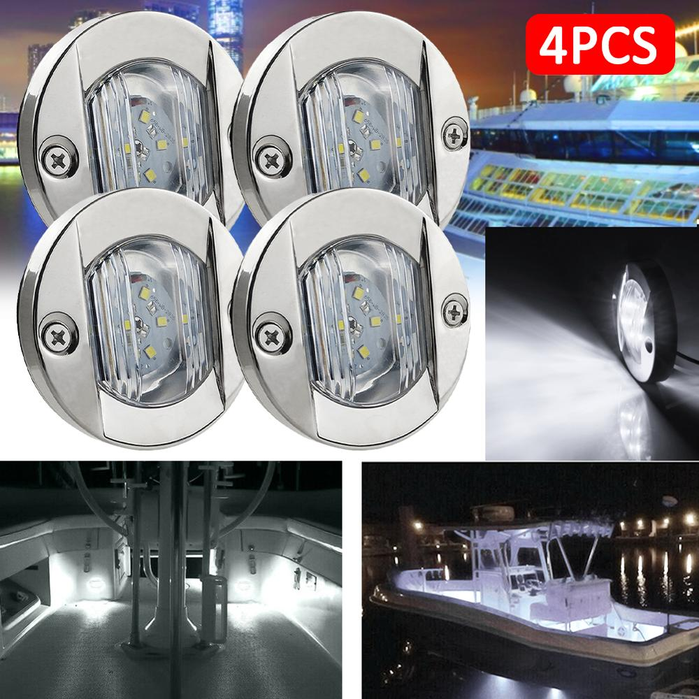 DC 12V Marine Boat Transom LED Stern Light Round Stainless Steel Cold White LED Tail Lamp Yacht Accessory Blue/White/Warm White