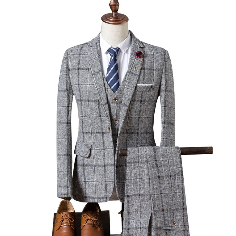 Мужской костюм, новинка 2019, мужской Клетчатый костюм, 3 предмета, классические клетчатые костюмы, мужские деловые свадебные костюмы, облегающие мужские вечерние костюмы Tuexdo - 5