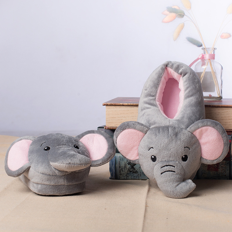 Suihyung Funny Elephant Cartoon Plush Slippers Kids Winter Warm Soft Indoor Shoes Home Slippers Boys Girls Animals Cotton Shoes
