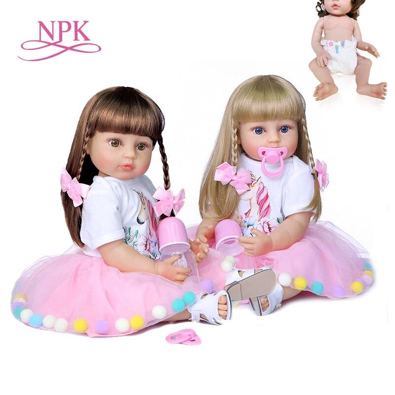 NPK 55CM reborn baby puppe prinzessin kleinkind mädchen weichen touch volle körper silikon Weihnachten Geschenk hohe qualität puppe sammlerstücke