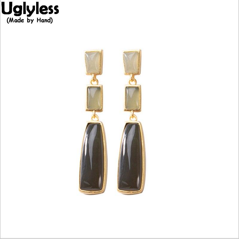Uglyless Minimalism Square Jade Earrings Women Simple Fashion Stripes Gold Earrings 925 Silver Natural Gemstones Jewelry Agate