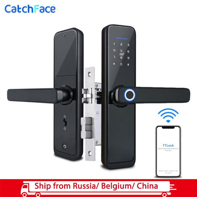 Smart Fingerprint Door Lock  Security Electronic Door Lock  Smart WiFi Bluetooth Digital APP Keypad Code FRID Card Keyless Lock
