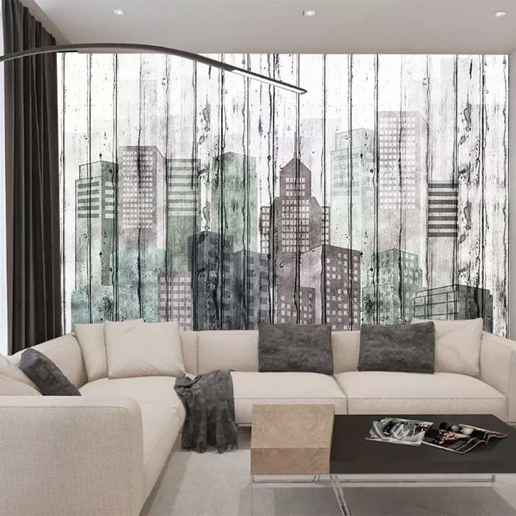 3D Northern European-Style Abstract Lines City Architecture Wallpaper Modern Minimalist Living Room Television Background Wall W