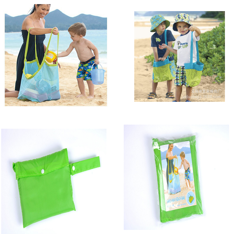 Portable Beach Bag Baby Toys Mesh Storage Bag Kids Outdoor Sand Seashell Park Swim Towel Clothes Organizer Travel Container Case