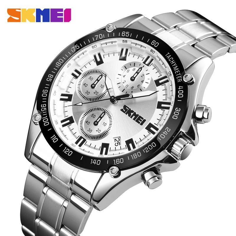 <font><b>SKMEI</b></font> Stainless Steel Strap Quartz Watch Men Waterproof Watches Date Clock Man Fashion Casual Sport Watch Relogio Masculino <font><b>1393</b></font> image