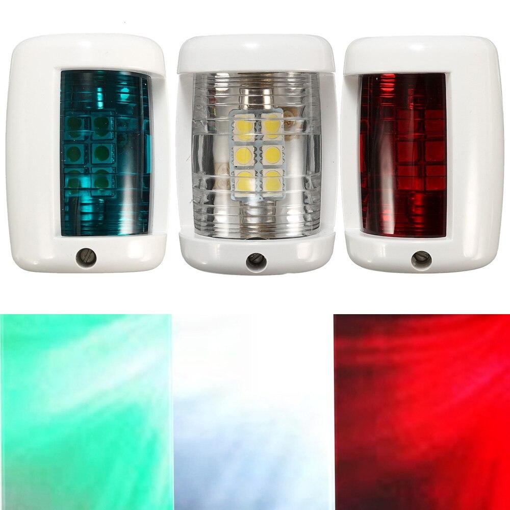 3pcs/set 12V Red Green LED Boat Navigation Light Signal Lamp White Sailing For Marine Yacht Starboard Port