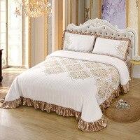 Funda de algodón con volantes para cama doble, cobertor de lujo de punto, manta, fundas de almohada de lino, textil para el hogar