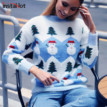 цена на InstaHot Casual Patchwork Knitted Mohair Sweater Women Christmas Pullover Mock Round Neck Autumn Winter Jumper Sweater 2019 New