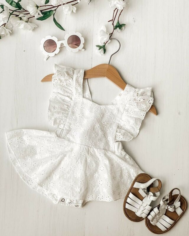 Princess Infant Baby Girl Lace Romper Dress Fly Sleeve Backless Jumpsuit Headband Baby Girl Clothes Lace Flowers Outfits 0-2Y