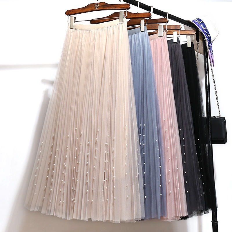 Gauze Skirt 2019 Four Seasons New Style Pleated Skirt Solid Color Sweet Beads Fairy Big Skirt Fashion