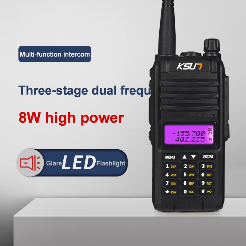 KSUN KS-UV1D 8W Alta Potência Dual Band Handheld Walkie Talkie Two Way Ham Radio Comunicador Transceptor HF Amador Handy