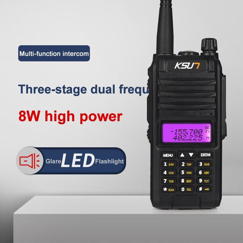 KSUN KS UV1D Walkie Talkie 8W High Power Dual Band Handheld Two Way Ham Radio Communicator HF Transceiver Amateur Handy