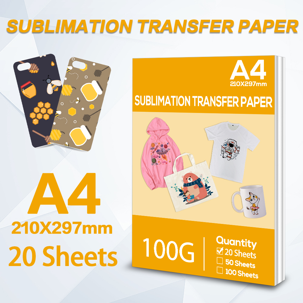 20Sheets A4 Heat Sublimation Transfer paper for Inkjet Printer Suit for Polyester T-Shirt Fabrics Clothes DIY Phone Case Bag Cup