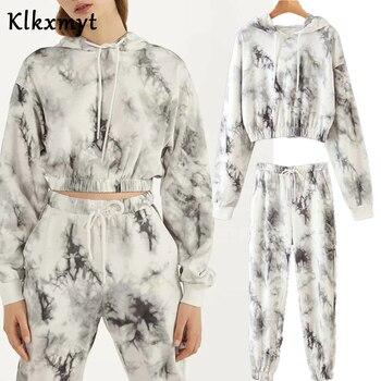 Klkxmyt Sets Women High Street Vintage Tie-Dyed Print Hoodie Women Sweatshirt And  Jogging Trousers Women Pants Two Pieces Set