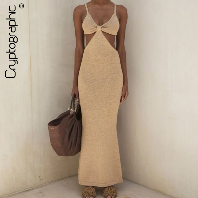 Cryptographic Spaghetti Strap Sexy Backless Maxi Dresses See Through Sexy Women Dresses Party Club Elegant Hollow Dress Sundress