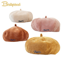 Fashion Mother Baby Hat for Girls Corduroy Letters Baby Cap Vintage Beret Hats Kids Cap Baby Girl Hat Adjustable Children Hats new 2018 baby hat for girls vintage autumn winter baby cap kids adjustable infant girl beret hat baby accessories 1 pc