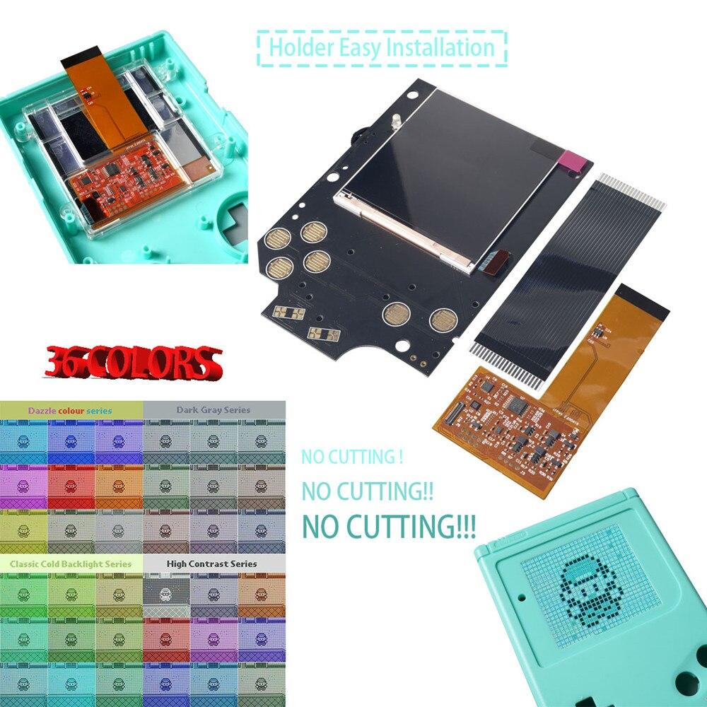 Funnyplaying dmg retro pixel ips kit de tela lcd luz alta brilho luminoso para gameboy gb console 36 cor retro com escudo