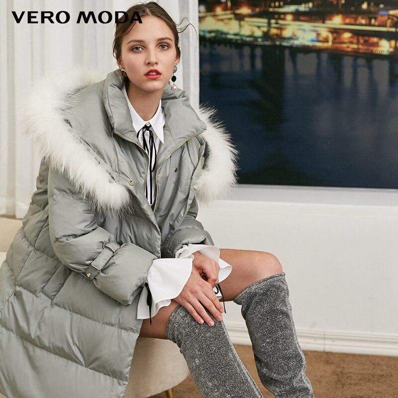 Vero Moda Women's Detachable Raccoon Fur Collar Oversize Drawstring High Collar   Down   Jacket Parka   Coat   | 318412540