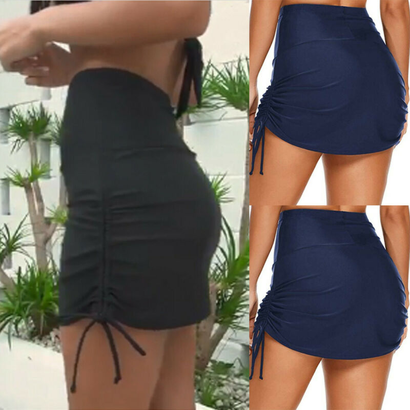 Women's Shirred High Waist Swim Skirt Tie Side Bikini Mini Black Blue Skirts With Brief Swimwear Beach Wear