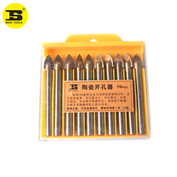 цена на BOSI 10pcs 10mm Porcelain Spear Head Ceramic Tile Glass Marble Drill Bits Set
