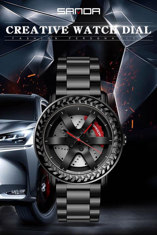 Sanda новые часы с автомобильным колесом военные кварцевые наручные