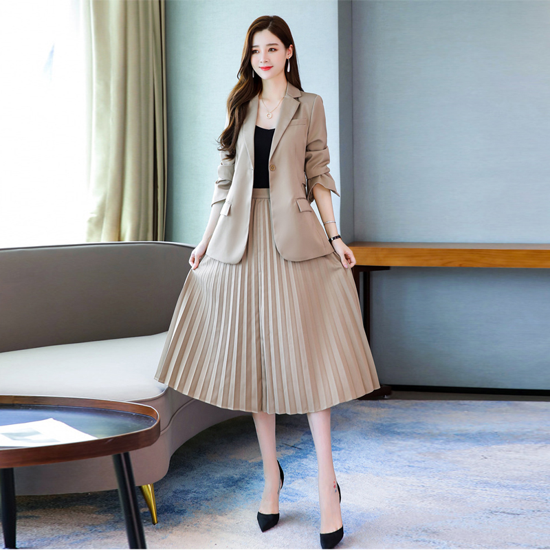 Fall Women's Skirt Two Piece Set 2019 Casual Solid Color Slim Long Sleeve Ladies Blazer Coat Elegant High Waist Pleated Skirt