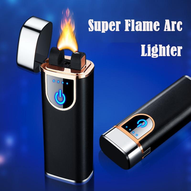 Большой огневой мощи зарядка через USB дуги ветрозащитная Зажигалка для сигар фонарь Творческий электрическая зажигалка High-end Для мужчин под...