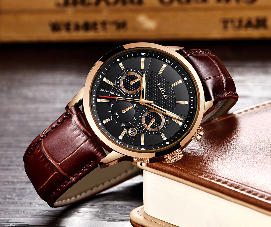 H1430768b14ba4e3498d67fc196be9018U LIGE New Men Watch Top Brand Blue Leather Chronograph Waterproof Sport Automatic Date Quartz Watches For Mens Relogio Masculino